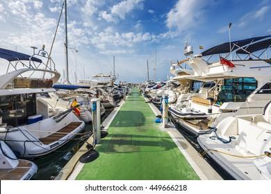 Yachts lined up along pontoon at marina of Puerto Portals, Majorca, Spain, Europe