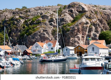 Yachts in a marina at the Swedish fishing village Fjällbacka on the west coast.