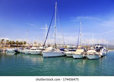 Yachts moored at busy marina