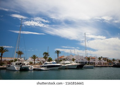 Yachts moored in a marina on the island of Formentera in Spain