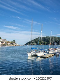 Yachts Moored on the Dart Estuary at Dartmouth, England