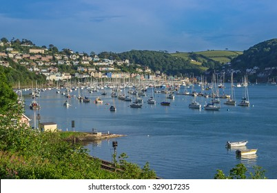 Yachts Moored on the Dart Estuary at Kingswear and Dartmouth, Devon, United Kingdom