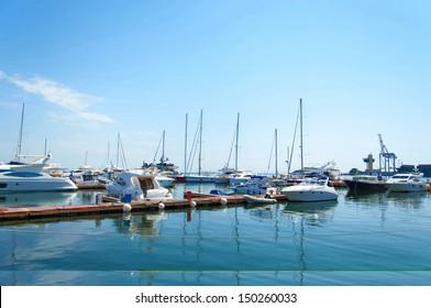 Yachts moored in seaport in beautifull sunny day. Odessa Ukraine.