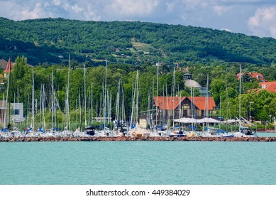 Yachts near the Balatonfured town at coast of Balaton lake, the famous resort area of Hungary.