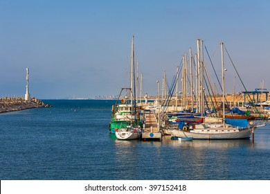 Yachts on marina in Ashqelon - coastal city on Mediterranean sea in Israel.