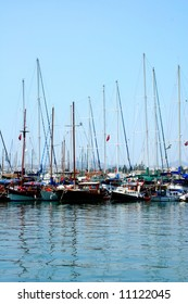 Yachts on a mooring