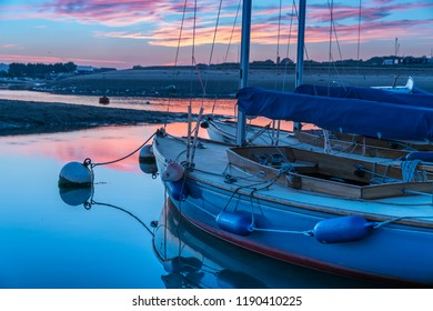 Yachts on the moorings at Bembridge Harbour, Isle of Wight, England, UK