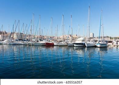 Yachts park in Vieux Port, old part of Marseille, France.
