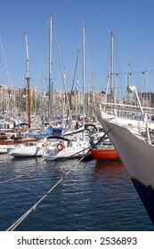 yachts parked at the Port Vell in the city of Barcelona, Catalunya, Spain, Europe