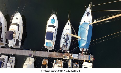 yachts at the pier, aerial view