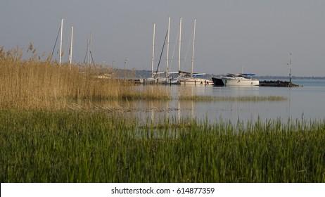 yachts in a port at lake Balaton