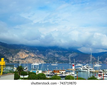 Yachts in port of Saint-Jean-Cap-Ferrat - resort and commune in southeast of France on promontory of Cote d'Azur in Provence-Alpes-Cote d'Azur region,department of Maritime Alps,Nice district, France