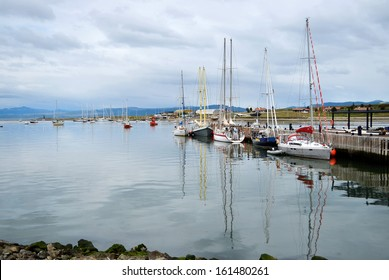 Yachts in the port of Ushuaia in the south of Argentina