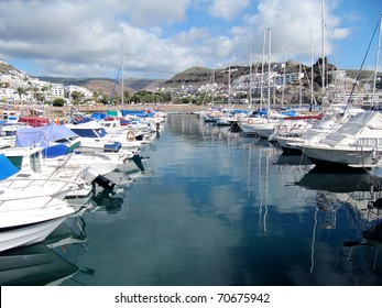 Yachts in Puerto Rico, Gran Canaria. Resort is situated in the South West of the island.