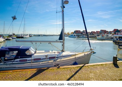 Yachts and sail boats in Volendam Harbor, Netherlands