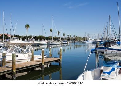 Yachts and sailboats are docked at the marina in St. Petersburg, Florida, USA.