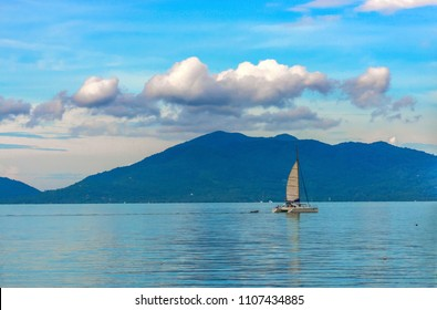 Yachts are sailing in the sea.on the good weather day with the blue sky Koh Samui Thailand
