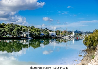 yachts and sailing ships in a harbour, new zealand, whangarei, town basin