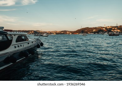 yachts in sea bay, and view of Istanbul, Turkey