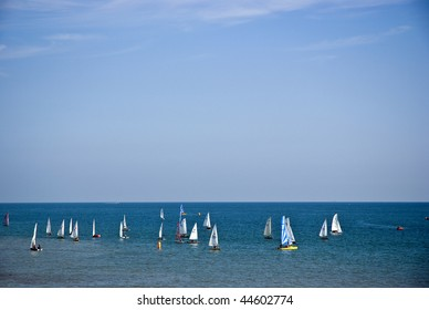yachts at sea; excellent copy space in sky