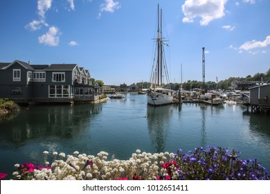 Yachts under the blue sky in Kennebunk town,Maine, USA, 2017