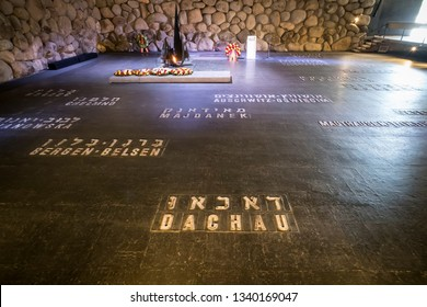 Yad Vashem memorial of Holocaust with names of concentration camps written on the floor of the Hall of Remembrance. JERUSALEM, ISRAEL. 24 October 2018