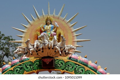 YADAGIRIGUTTA,INDIA-APRIL 14:View of Statue of  Hindu god surya or sun god ride chariot drawn by seven horses as in mythology, in temple on April 14,2018 in Yadagirigutta