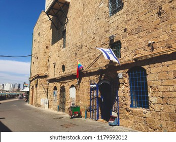 Yafo, Israel - June 5, 2018: Ancient streets, lanes and structures in old city of Yafo near Tel Aviv city, Israel.