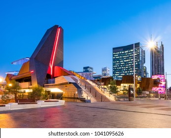 Yagan Square, Western Australia, in the evening with Perth CBD in the background.