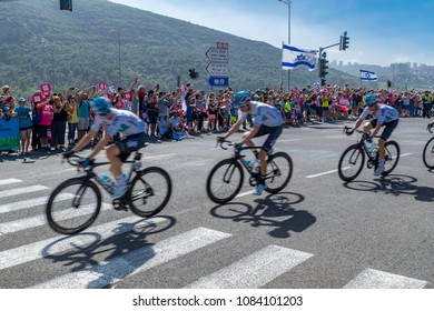 YAGUR, ISRAEL - MAY 05, 2018: Scene of stage 2 of 2018 Giro d Italia, with cyclists and spectators, in Yagur, Israel