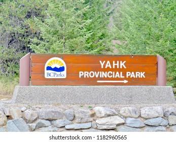 Yahk, British Columbia / Canada - September 10 2018: Yahk Provincial Park in British Columbia wood sign