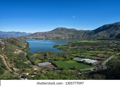 the Yahuarcocha Lake seen from above in Ibarra Ecuador