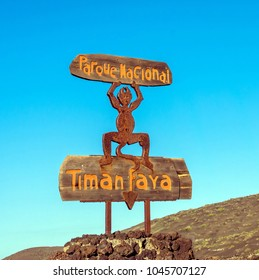 Yaiza, Spain - December 28, 2016: Lanzarote Timanfaya National Park devil sign in Yaiza, Spain. The devil sign was created by Cesar Manrique.