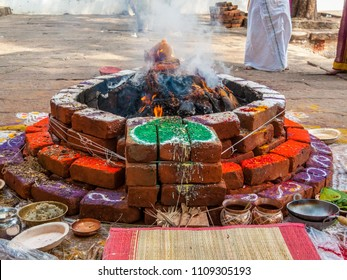 A yajna kunda, or ritual pit, for offerings to the sacred fire at a Hindu temple in South India.