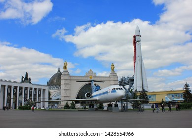 Yak-42 plane and Vostok rocket at VDNKh exhibition center in Moscow, Russia om June 2019