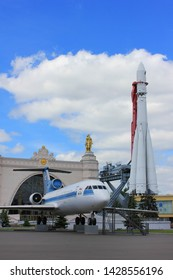 Yak-42 soviet plane and Vostok rocket at VDNKh open air exhibition center and museum in Moscow, Russia on June 2019