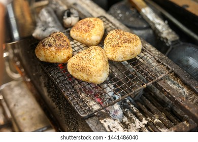 Yaki Onigiri - Japanese Onigiri Rice Ball on a Yakitori grill - in Japan