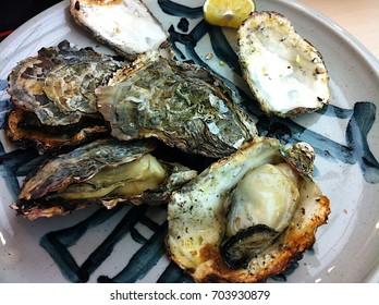 Yaki-Gaki; Japanese baked oyster dish at Hiroshima in Japan