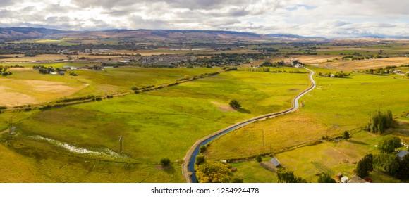 Yakima River Aerial Panorama Ellensburg Washington USA