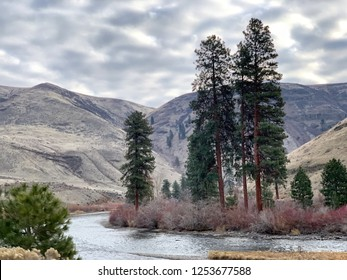 Yakima River in Washington State winding through the rugged, winter mountain landscape