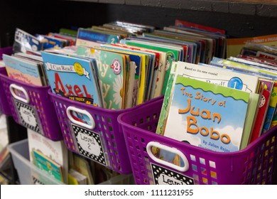 Yakima, Wasington / USA - May 21, 2018:  First grade classroom decoration and books for students to use during their school day.