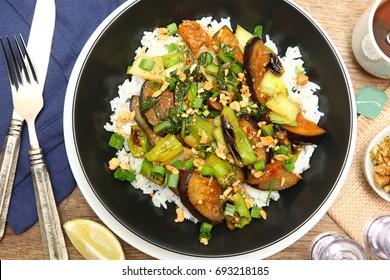 Yakiniku-Glazed Eggplant with Shishito Peppers and Ginger-Lime Cashews