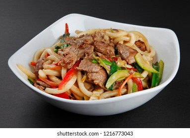 Yakisoba beef noodle isolated on black background