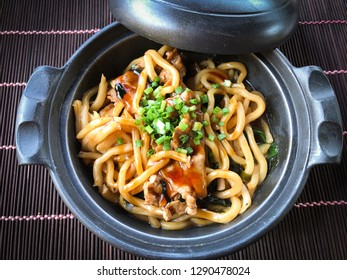 Yakisoba in black clay pot, Japanese stir fried noodles