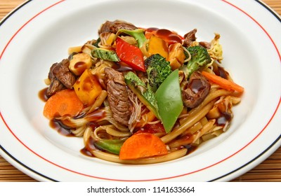 Yakisoba, dish of meat and fried noodles