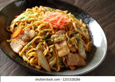 Yakisoba, stir-fried noodle with meat and vegetables