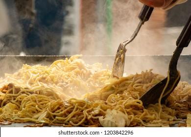 Yakisoba,japanese fried noodles on the hot pan