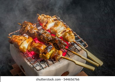(yakitori) Charcoal grill of the famous Japanese chicken which I spitted