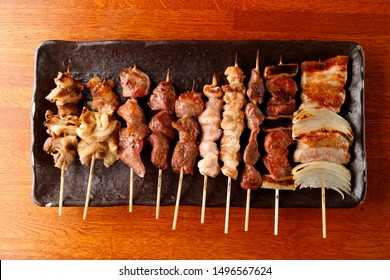Yakitori , grilled chicken ,grilled meat on a stick , Japanese food