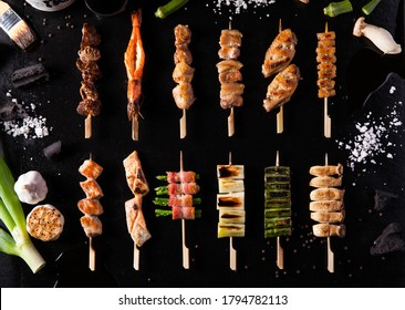 Yakitori on Black Background with Ingredients